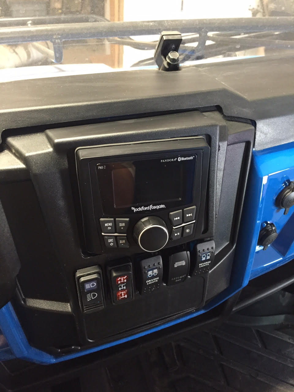 Polaris Head Unit >> Polaris Ranger Full Size Dash Mounted Audio Radio Kit - Rockford Fosgate PMX-2 Head Unit ...