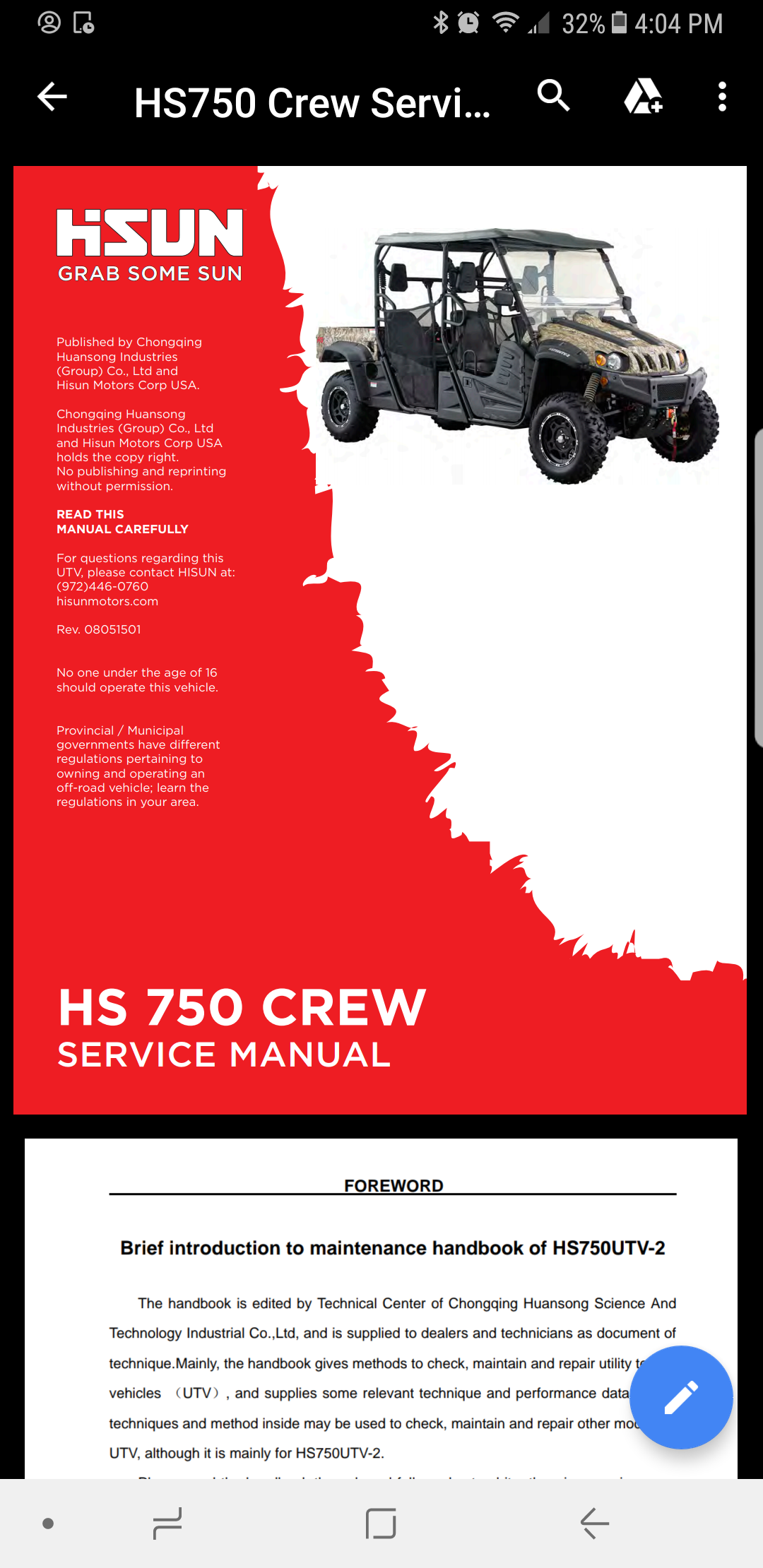 Hisun 750 Service Manual - Hisun Utv Sxs Forum
